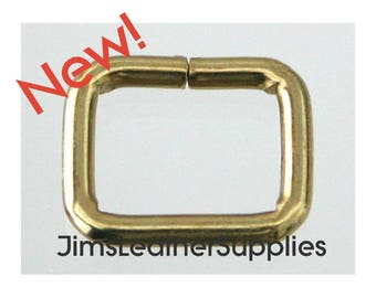 """1/2"""" wire loops 20 pack brass plated steel - also known as belt keepers 1/2"""" X 3/8"""" X 2.4mm (#74)"""