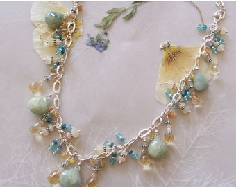 ON SALE Aquamarine, Apatite, AAA Citrine & Opal Gemstone Faceted Many Multi Dangle Necklace ~ Sterling SIlver Chain ~ Adjustable ~ Artisan J