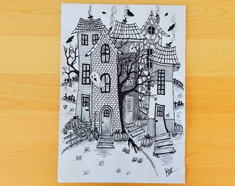 Halloween ink drawing, Ink illustration, Halloween art drawing, Halloween town drawing, Black and White ink drawing, Black and white art