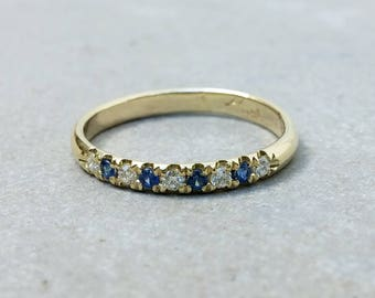 sapphire and diamond eternity 14k solid gold ring