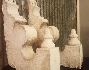Pair of antique corbels. Old chippy paint