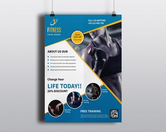 Fitness Club Flyer Template    Gym Flyer Template   Photoshop & Elements Template,  Instant Download