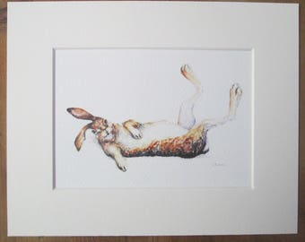 """Watercolour print of hare, Libby. Printed directly onto watercolour paper. In a  10"""" x 8"""" mount."""
