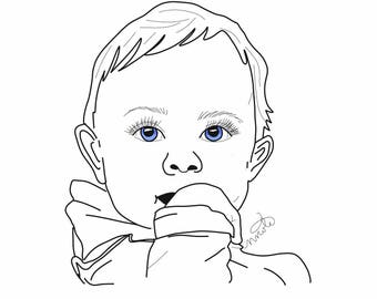CUSTOM Child/Baby Portrait Art Print - decor - gifts - cards - memorials