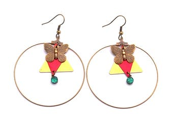 Earring creole ormolu vintage triangle geometry 50mm pink and blue butterfly