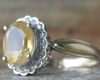 Vintage Solid 9ct Gold Diamond And Lemon Citrine Statement Ring size P