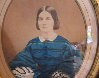 Mid 19th C.Hand Tinted/Painted Watercolor Photograph by L.P.Smith,Mystic CT.