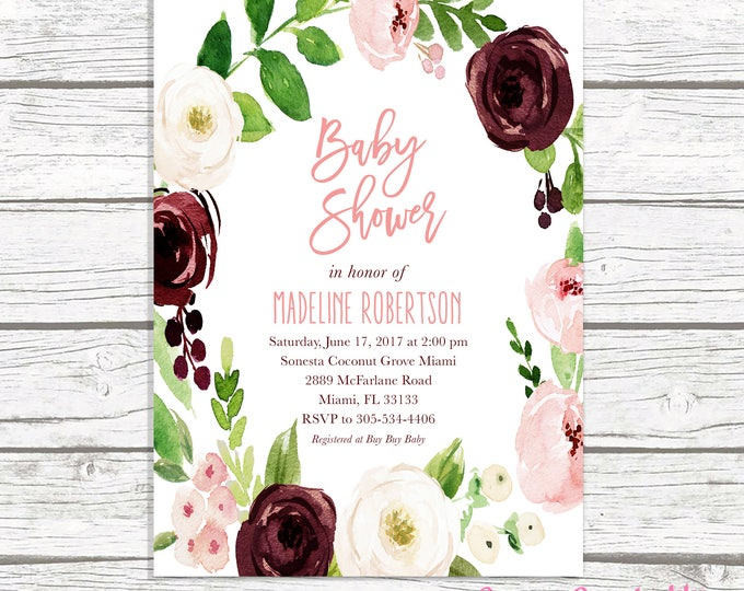 Marsala Baby Shower Invitation Girl, Burgundy Baby Shower Invitation, Pink Floral Baby Shower Invite, Rustic Baby Shower, Printable