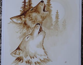 Howling Wolves coffee painting