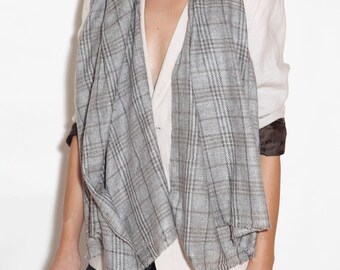 Checkered cashmere scarf for men and women, checkered scarf, wool scarf, women's cashmere scarf, beautiful scarf, men's scarf, gray scarf