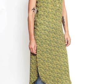 Beautiful tunic, women's dress, green dress, summer dress, long tunic, sleeveless dress, unusual dress, stylish dress, green dress tunic