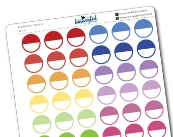 Blank Half Circles   537   Planner Stickers for MAMBI and Erin Condren Planners - Physical Item