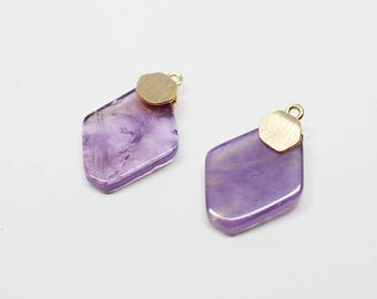 P0662/Anti-Tarnished Gold Plating Over Brass+Amethyst/Rhombus Green Amethyst Gemstone Pendant/11x17mm/2pcs