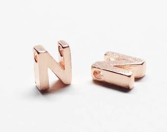 P0721/Anti-Tarnished Rose Gold Plating Over Brass /Brushed Mini Alphabet Charm/4.9x7mm/2pcs