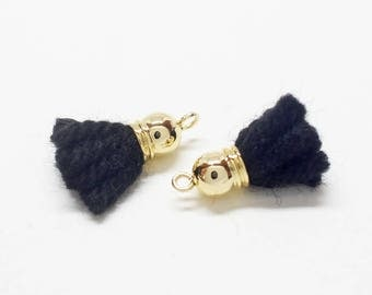 T0022/Gold plated over brass/Round Cap Wool Tassel/5.6x20mm/2pcs