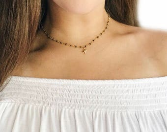 Rosary Chain Necklace w/ Tiny Shark Tooth Charm