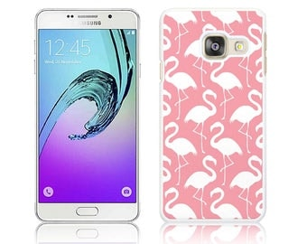 Funky Flamingo White on Pink - Hard Cover for Samsung GALAXY A3, A3 2016, A3 2017, A5, A5 2016, A5 2017 Polycarbonate Case