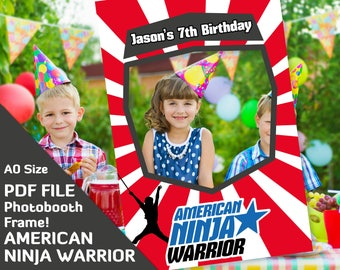 american ninja warrior party favors photobooth props, birthday decorations, photo booth frame A0 size Custom PDF file, 7th 6th birthday prop