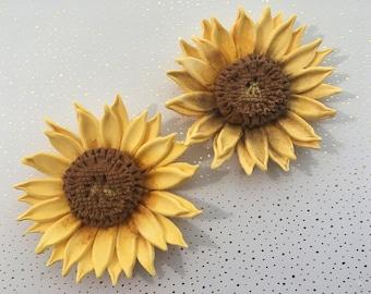 4 Fondant Sunflowers II 4 Gumpaste Sunflowers Fondant Flowers Gumpaste Flowers Sugar Flowers Edible Flowers Edible Sunflowers Cake Topper
