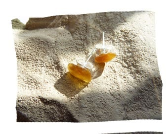Stud Earrings natural sustainable organic pieces of glass Orange polished by the sea