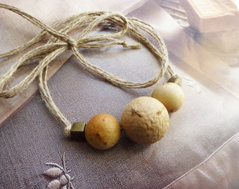 Necklace natural organic rustic vegetable beads, metal and linen threads