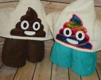 Poo or Rainbow Unicorn Poo Emoji Hooded Towel for Kids OR Adults -Custom Made to Order