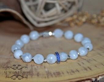 Moonstone Bracelet, Beaded Bracelet, Gemstone Bracelet, Gift for Her, Gift Idea, Birthday Gift, Women's Bracelet, Boho Jewelry, Fancy
