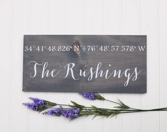 Coordinates wall art, Custom coordinates sign, Wood wall art, Wedding gift for couple, Wooden sign