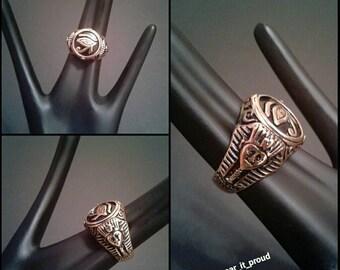 King Tut Third Eye Men's Ring Eye of Horus Antique Gold Band