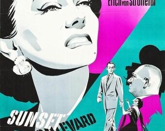Back to School Sale: SUNSET BLVD Movie Poster 1950 Hollywood Film Noir RARE Print