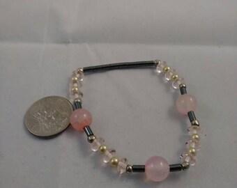 Pink agate, pearl and crystal bead bracelet, beaded bracelet, beaded jewelry, stretch bracelet jewelry, agate bead bracelet