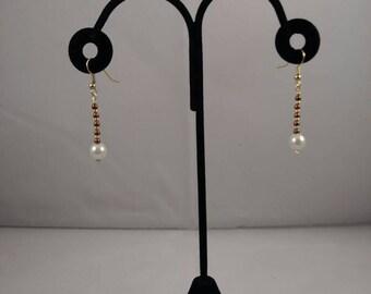 Pearl dangle earrings, dangle earrings, lever back earrings