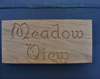 Personalised Carved Natural Oak Plaque Engraved Wooden Address Sign Door Plaque