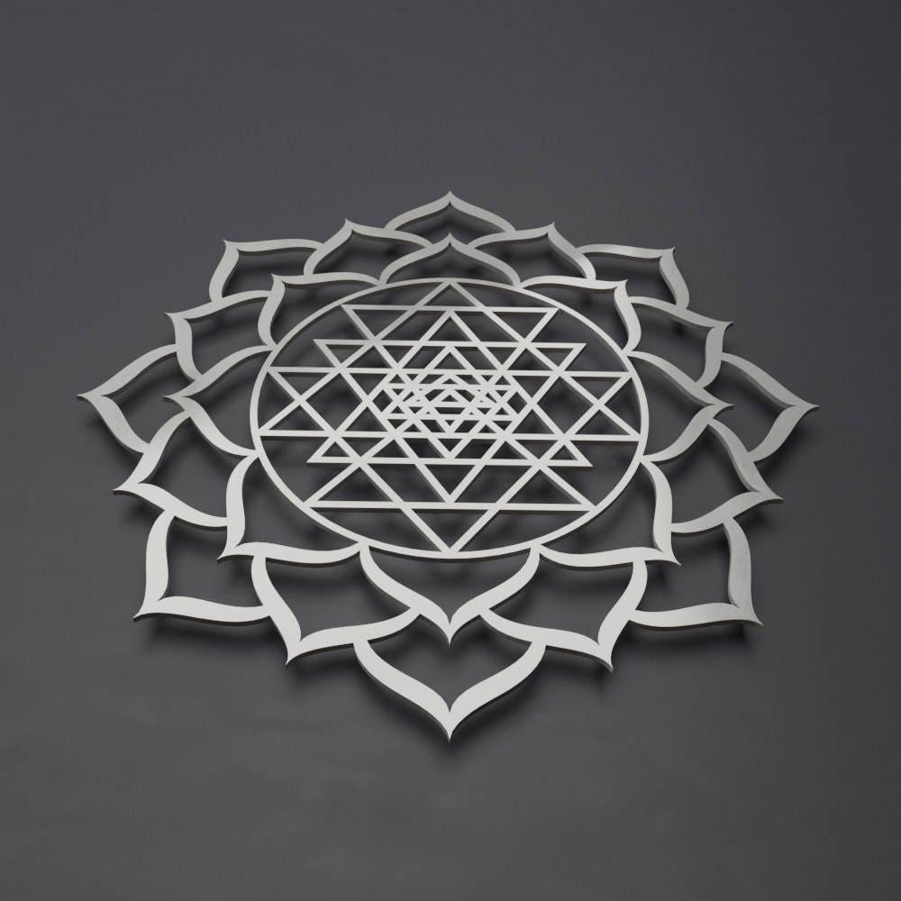 sri yantra lotus mandala metal wall art sculpture sacred. Black Bedroom Furniture Sets. Home Design Ideas