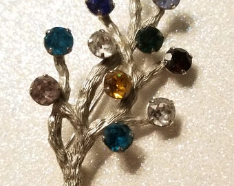 Vintage Tree Branch Multi Color Rhinestone Pin Brooch Sterling Van Dell