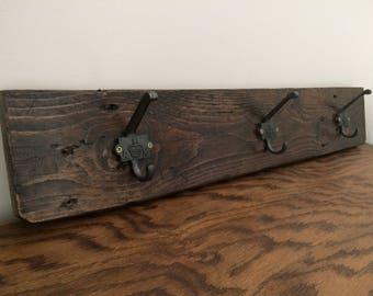 Reclaimed Coat Rack, Pallet Wood Coat Rack, Rustic Decor, Home Decor, Farmhouse Coat Hanger, Cast Iron Hooks, Industrial Decor, Crown Hooks
