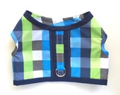 RESERVED for Maks // swim harness in blue and green plaid with navy accents