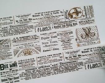Design Washi tape black white Brown newspaper text masking tape