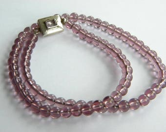 vintage PURPLE glass beads necklace SILVER 925 clasp ~inA2900