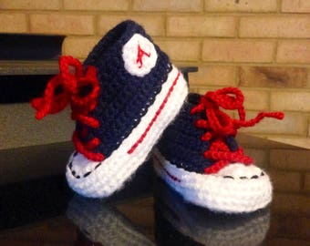 Crochet Baby SHOES, Baby Baseball shoes, Atlanta BRAVES inspired converse shoes (Handmade by me and not affiliated with the MLB)