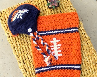 Baby FOOTBALL Cocoon, Newborn Football swaddle, Denver BRONCOS Inspired (Handmade by me and not affiliated with the NFL)