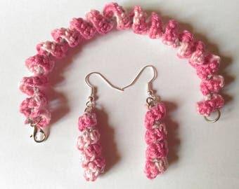 cotton bracelet earrings set