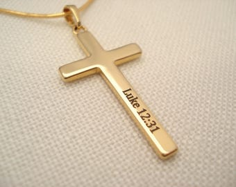Gold filled Personalized cross Necklace...Custom engraved name plate jewelry, monogram, bridesmaid gift, bible verse, religious, faith gift