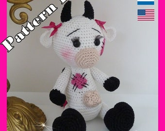 Crochet Pattern, pattern, tutorial, Amigurumi cow LO