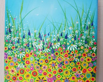 """Summer in Bloom. 8x8"""" Original acrylic floral meadow painting on box canvas."""