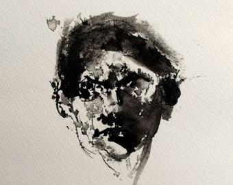 Abstract female portrait, Giclee print, Matted Print, Whimsical Art, Black and White, Fine Art, Fine Art Print, Art Gift, Wall Decor