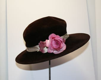 Dark brown velvet hat with pink ribbon rose; Merrimac wide brim hat; Annie Hall hat; soft crown hat; BOHO chic hat