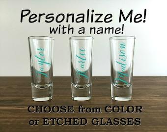 Bridesmaid Shot Glasses, Personalized Bride Gift, Bachelorette Party Favors, Bachelorette Party, Etched Shot Glasses, Bridesmaid Proposal