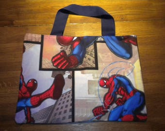 tote bag sewn blue/red fabric for adult