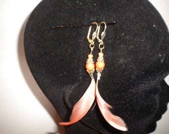 pierced earrings handmade with natural feather